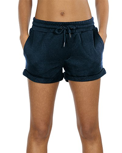 icyzone Damen Baumwolle Shorts Hot Pants Sporthose Strand Running Gym Yoga Shorts Hosen (Navy,S)