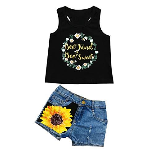 LEXUPE Kleinkind Baby Mädchen Brief drucken Weste Tops T-Shirt Floral Denim Shorts Outfit Set(Schwarz,110)