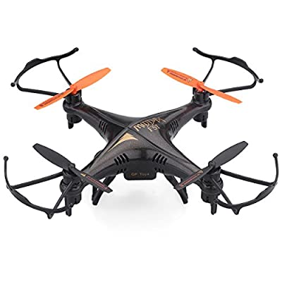 GPTOYS F51 RC Drone With 2.0 MP HD Camera Quadcopter Helicopter 2.4GHz 4 Channel 6 Axis Gyro System Remote Control Flip Fly UAV RTF UFO 3D Rotation 360 Degree Eversion LED Headless One Key Control Christmas Gift Toys - Black