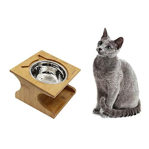 Petilleur Ciotole Rialzate per Gatti Cani Ciotole Gatto Antiscivolo Cane con Supporto in Legno (3 Ciotole, Ceramica)
