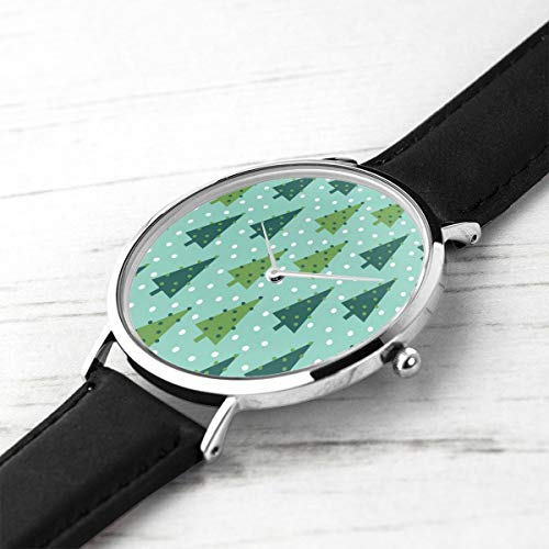shion Minimalist Armbanduhren Holiday Trees Holiday Xmas Mint und Green Holiday Xmas Wasserdicht Quarz Casual Watch Mens Womens ()