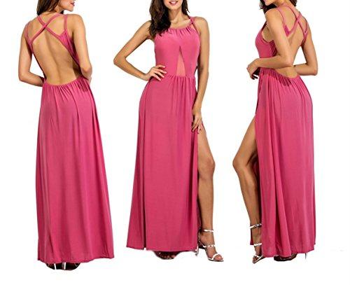 Swallowuk Damen Elegant Ärmelloses Split Maxikleid Net Garn Kleid Partykleid Strandkleid (XL, Rosa)