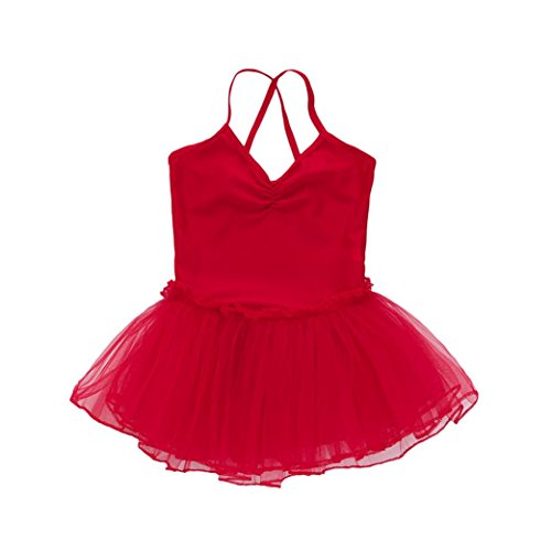 hen Ballettkleid Kinder Ballett GazeTrikot Ballettanzug mit Tütü Röckchen Kleid (Rot, 134) ()