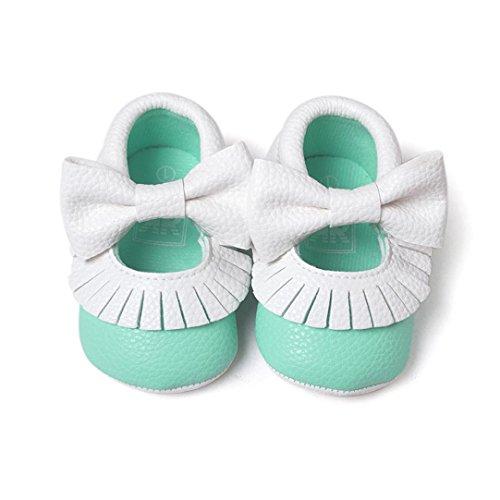 Ouneed® Krabbelschuhe , Weihnachten Baby Bowknot Quasten Schuh Kleinkind weiche alleinige Turnschuhe beiläufige Schuhe Minzgrün