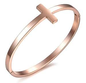 """Old Rubin or Rose plaqué ovales de manchette bracelets avec cristal gravé """"The flame of our Love"""""""