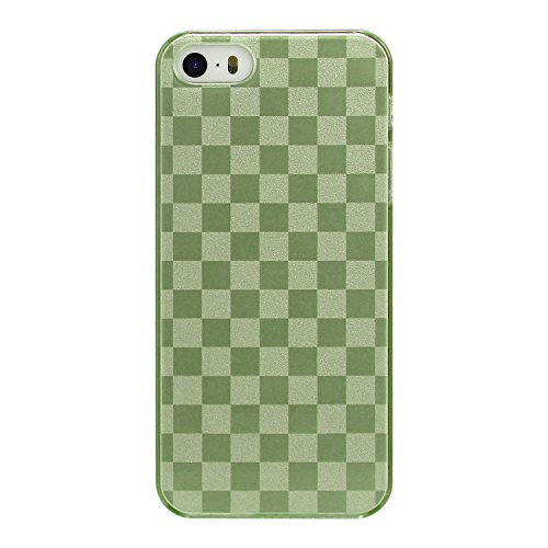 RE:CRON® Handycover für Apple IPhone 5, 5S Polycarbonat - Schachbrett Karo Look gebürstetes Metall - Grün (Die Karo-taste Grüne)