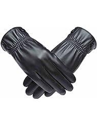 Guantes de los hombres caliente invierno frío viento Montar a caballo en el exterior de la motocicleta más gruesa de terciopelo negocio ( Color : Negro )