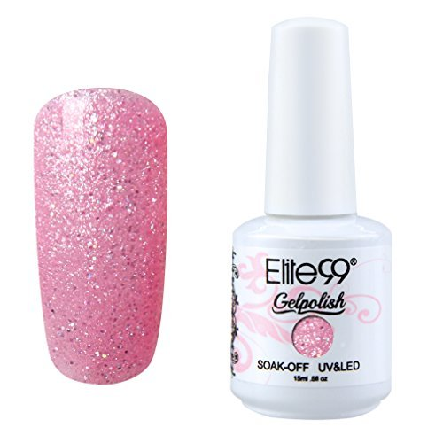 Qimisi Soak-Off UV LED Gel Polish Nail Art Manicure Lacquer Glitter Lightpink by Qimisi (Harmony Gel-glitter)