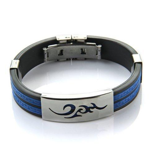 SODIAL(R) Pulsera Brazalete Acero Inoxidable Silicona para Hombre Azul