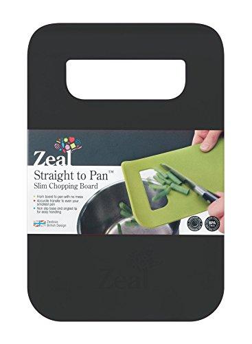 Zeal Straight to pan - Tagliere sottile., plastica, Nero , S (21,5 x 14 cm)