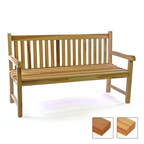 garten holzmoebel Divero 3-Sitzer Bank Holzbank Gartenbank Sitzbank 150 cm – zertifiziertes Teak-Holz unbehandelt hochwertig massiv – Reine Handarbeit – Wetterfest (Teak Natur)