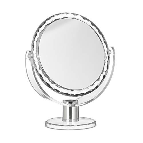 Relaxdays Vergrößerung, Schminkspiegel stehend, Make Up Spiegel rund Espejo Aumento Circular de Mesa...