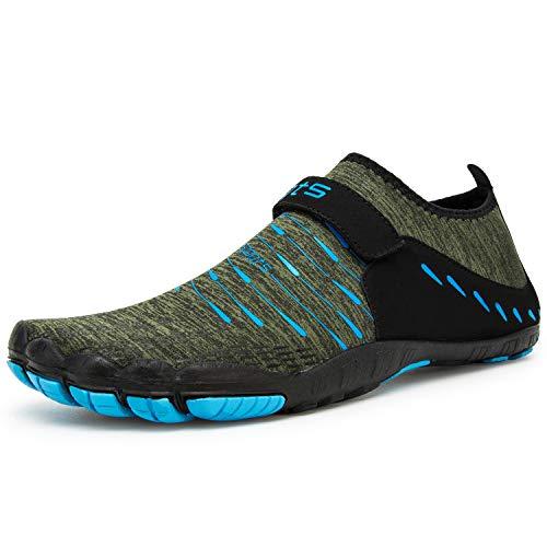 Herren Damen Outdoor Fitnessschuhe Barfußschuhe Trekking Schuhe Badeschuhe Schnell Trocknend rutschfest(Grün Blau,46 EU)