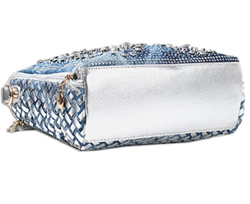KAXIDY , Damen Henkeltasche Blau blau 28x 12 x 27cm, Blau - Blau - Denim Bleu + Or PU Cuir - Größe: 28x 12 x 27cm Blau - Denim Bleu + Argent PU Cuir