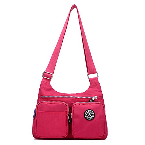MeCooler Schultertasche Mode Umhängetasche Damen Taschen Leichter Messenger Bag Wasserdicht Kuriertasche Lässige Sporttasche Reisetasche Rot 2