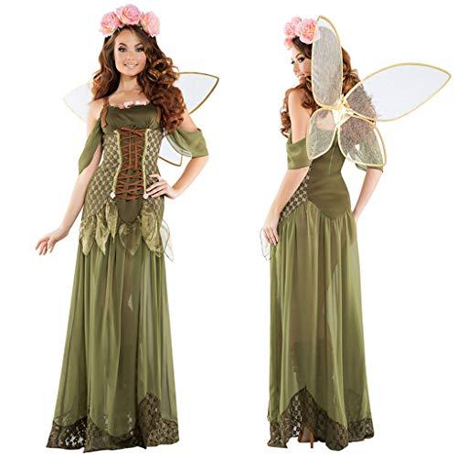 1-1 Märchen Erwachsene Frauen Cosplay Wald grüner Elf-Blumen-Fee Engel Kleid Halloween Karneval (Wald Märchen Kostüm)