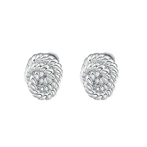 Bishilin Gold Plated Womens Stud Earrings Rope Strands Circular Silver Earrings