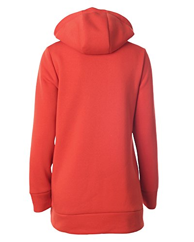 Donna Pullover Felpe Sportive con Cappuccio Hoodie Coat Giacca con Zip Maniche Lunghe Sweatshirt Orange