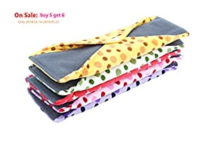 Bamboo Sanitary Pads for Heavy Flow Organic Cotton Cloth Menstrual Pads Made of Bamboo Charcoal Postpartum Cloth Pads for Women Reusable Feminine Pads Pattern With Dot Print All Cotton Maxi Pads Skin Friendly Waterproof Sanitary Napkins Leak Free (Pack of