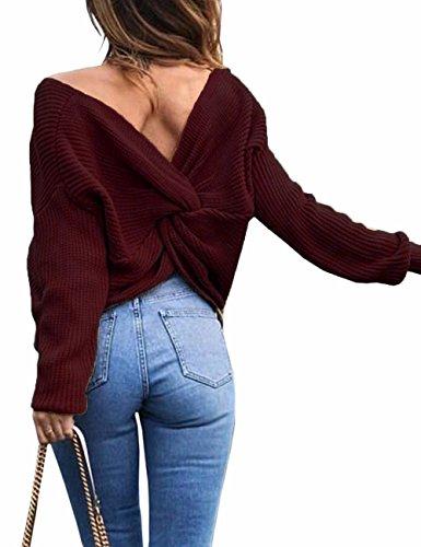 Junshan Damen Pullover langarm Casual V-Ausschnitt mit Knoten im Rücken sexy Pulli 36-44 8 Größe (42, Winered) (V-neck Sweater Cable Knit)