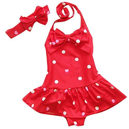 WUSIKY Bademode Neugeborenes Kleinkind Baby Mädchen Sleeveless Kreis Dot Bowknot Stirnband Badebekleidung Elegante Lässige Mode Kinder Baby Bikini Set 2019 Neues Kind Tankini Set(rot,M)