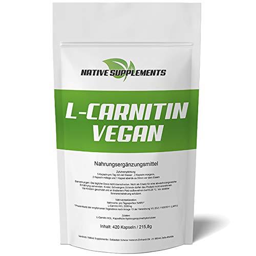 420 Kapseln L-Carnitin Vegan, Hochdosiert 2000mg / Portion, ohne Zusatzstoffe, deutsche Herstellung, stärkste Qualität, Für Vegetarier & Veganer geeignet