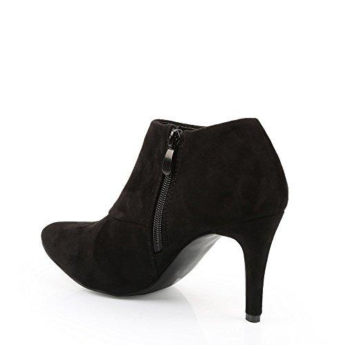 Ideal Shoes–Stivaletti bassi effetto camoscio Pernelle Nero