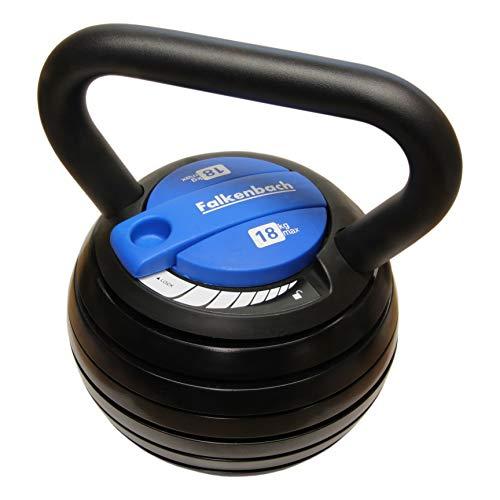 FALKENBACH® verstellbare 18kg Kettlebell | Über 20 Gewichtsvariationen | 6X Gewichte 3,6-18 kg