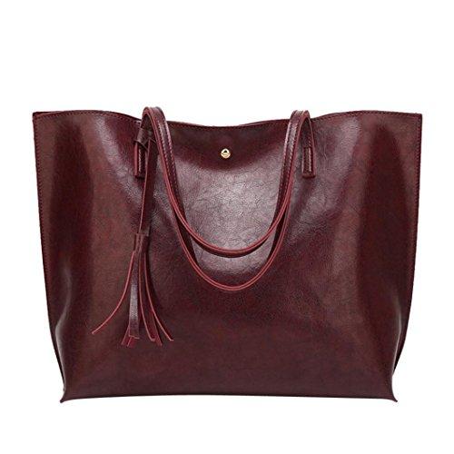 tianranrt Frau Casual Taschen Frauen Leder Quaste Handtasche Schultertasche Umhängetasche coffee 36cm(L)*30cm(H)*11cm(W) (Reißverschluss Double Top Umhängetasche)