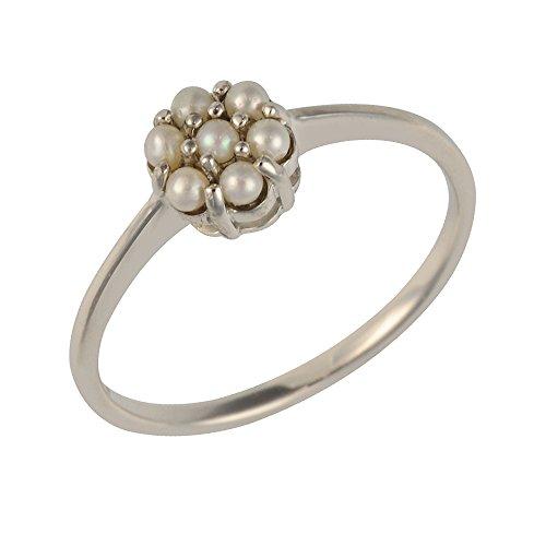 Ivy Gems Halskette mit Anhänger Sterling-Silber chinesische Süßwasserperle Blumen Ring