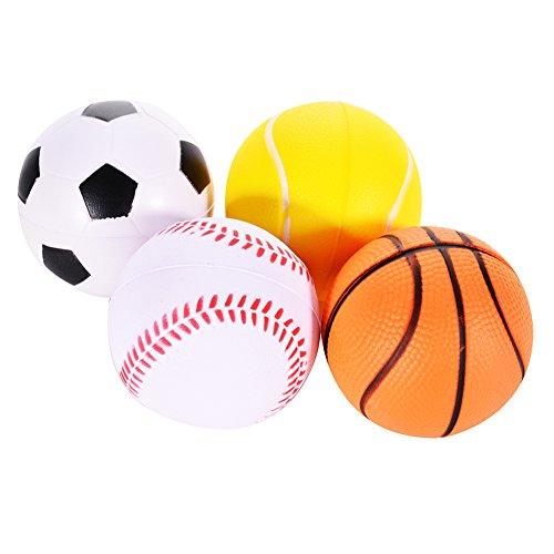 ,7 Zoll Mini Soft PU Sport Squishy Bälle Stress Noverty Spielzeugbälle (Basketball Fußball Tennis Golf) Set von 4 (Soft-schaum-bälle)