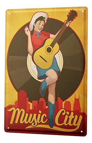 Blechschild Bar Party Wand Deko Gitarre Music City Metallschild 20X30 cm