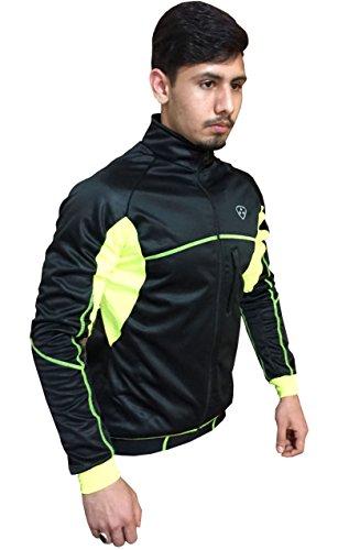 Deportes hera - giacca traspirante antivento windstopper per ciclisti, impermeabile ad acqua e vento, nero/giallo, xl