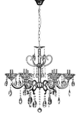 Kronleuchter Kendall, 6-armig, E14, mit kleiner Edison-Schraube, 40W, Chrome / Kristalle