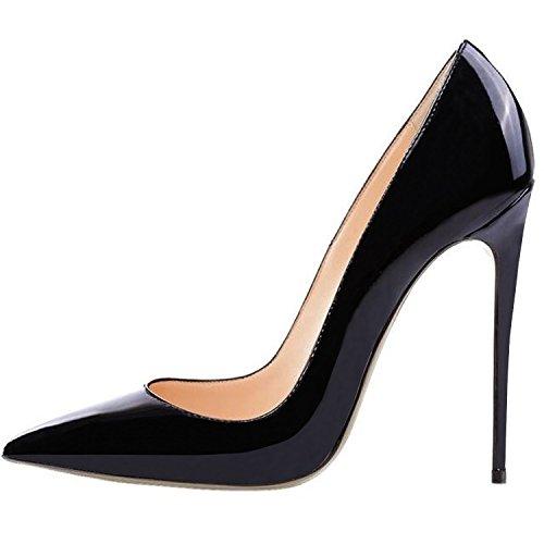 Jushee Women's CYhgj Closed Pointed Toe Stiletto High Heels Dress Shoes Black...