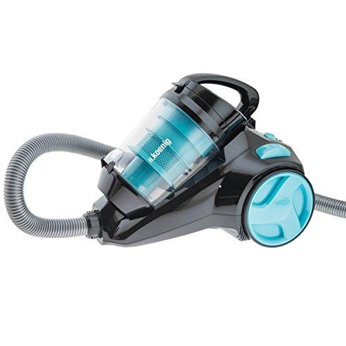 H.Koenig SLC80 beutelloser Staubsauger /Zyklon-Technologie / Parkett und Teppich Bürste / 2,5 L Staubbehälter / extra Leise / schwarz/blau
