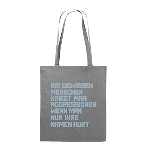Comedy Bags - Bei gewissen Menschen kriegt man Aggressionen. - Jutebeutel - lange Henkel - 38x42cm - Farbe: Schwarz / Pink Dunkelgrau / Eisblau