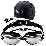 نظارات السباحة HD للماء وقبعة السباحة مع إطار نظارات نظارات سوداء