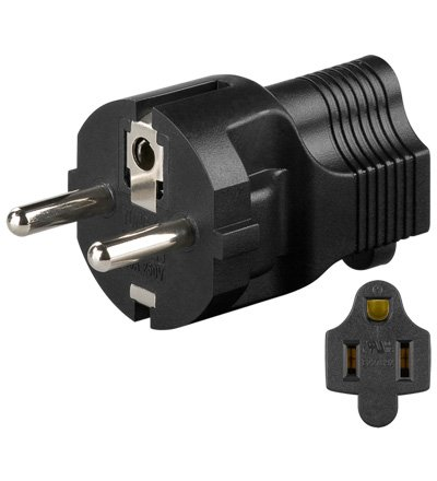 Wentronic NK SET US - CEE7 Tipo F Negro adaptador de enchufe eléctric