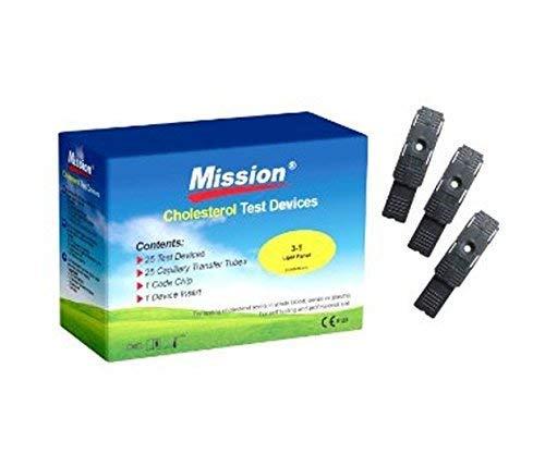 25 x 3-en-1 Strisce reattive colesterolo per Mission Misuratore Colesterolo