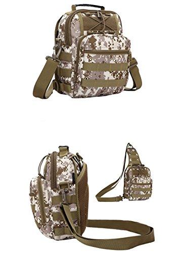 ueasy KOMPAKT Tactical Tasche Handlich vielseitig 3Wege, der Stil MOLLE Tasche Sport Schulter-Rucksack Rucksack für Fahrrad Camping Wandern Trekking Reisen Braun - hautfarben