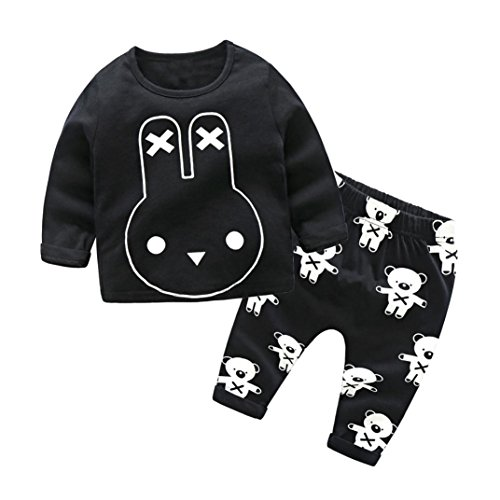 NTOM Neugeborenen Baby Jungen Mädchen Cartoon Print Tops Shirt Print Hosen 2 Stücke Outfits (Schwarz-A, 70cm) (Halloween Cartoons Für Babys)