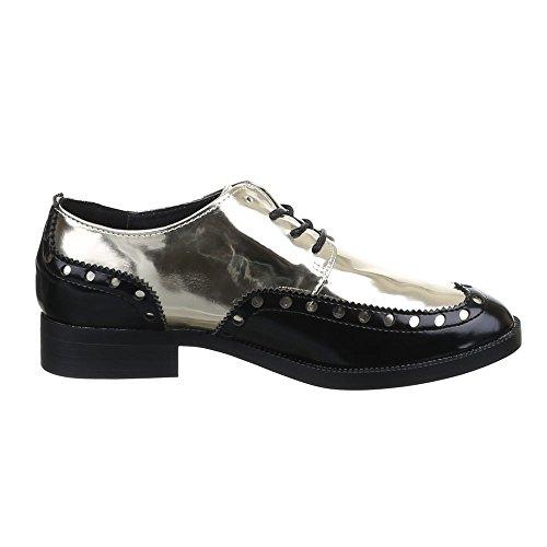 Damen Schuhe, CH-32001, HALBSCHUHE SCHNÜRER Schwarz Gold