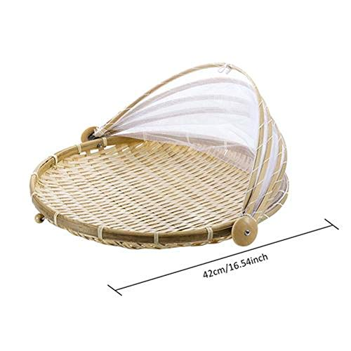 Food Serving Tent Basket with Mesh Tent Gauze Bug- Proof Dust-Proof Cover Storage Container Outdoor Picnic Food Cover,42cm