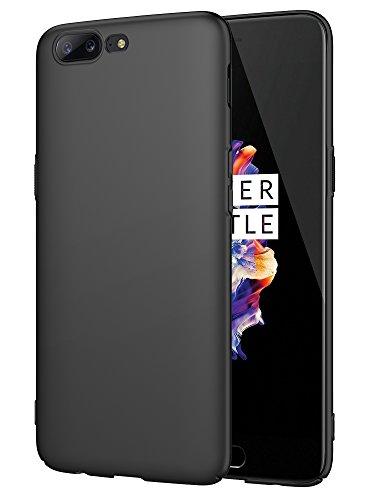 "EIISSION OnePlus 5 (5.5"") Funda,Ultra ligero Suave mate sedoso pintura PC Funda protectora de teléfono (Negro)"