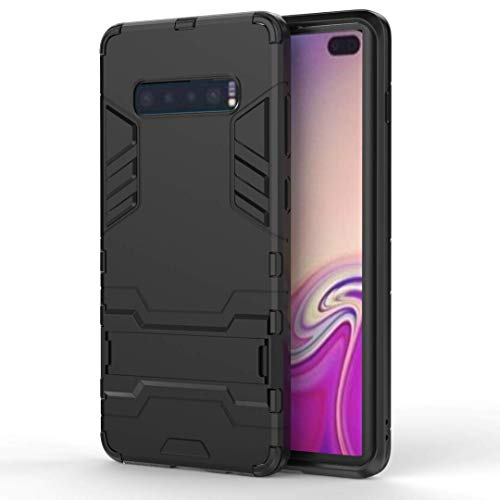 AOBOK Coque Samsung Galaxy S10 Plus, Noir Élégant Etui Robuste Hybride Armure Hull Couverture, Anti-Scratch, Parenthèse Pliable Housse pour Samsung Galaxy S10 Plus Smartphone