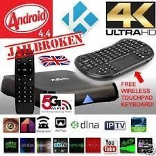 KODI (XBMC)Quad Core Fully Loaded Streaming Media Player M8S Google Android Smart 4.4 TV Box With Fully Loaded 5G Free Movies Live Sports TV Box With Wireless Keyboard