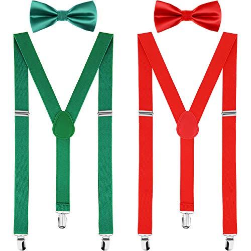 Jetec 2 Sätze Hosenträger und Fliege Verstellbare Hosenträger Krawatte Sets Y-Form Hosenträger mit Krawatten für Männer und Damen, 2 Farben (Rot, Grün)
