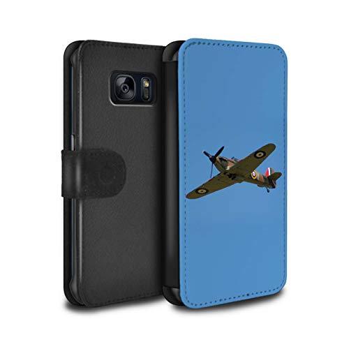 eSwish PU-Leder Hülle/Case/Tasche/Cover für Samsung Galaxy S6 Edge/Hawker Hurricane Kämpfer Muster/Historische Flugzeuge 2. Weltkrieg Kollektion Edge-hurricane
