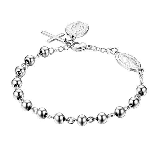 JewelryWe Schmuck Rosenkranz Armband Edelstahl Jungfrau Maria Katholischen Heiligen Gottes Mutter Kreuz Anhänger Perle Kugelkette Armreif Armkette für Herren Damen Silber